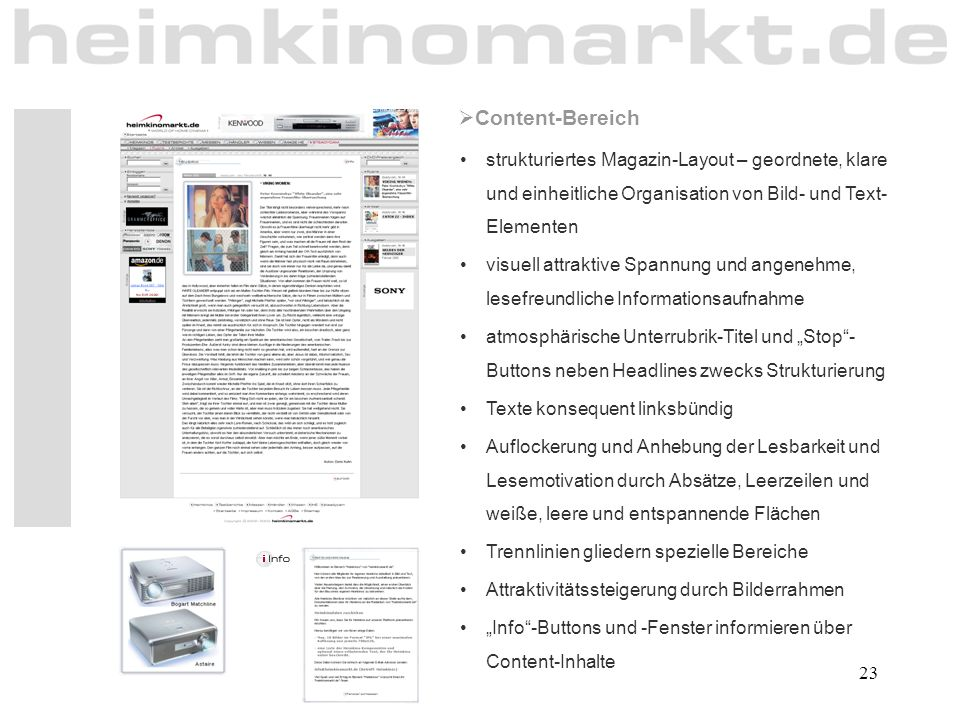 Content-Bereich strukturiertes Magazin-Layout – geordnete, klare und einheitliche Organisation von Bild- und Text-Elementen.