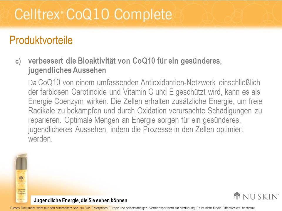 Produktvorteile verbessert die Bioaktivität von CoQ10 für ein gesünderes, jugendliches Aussehen.