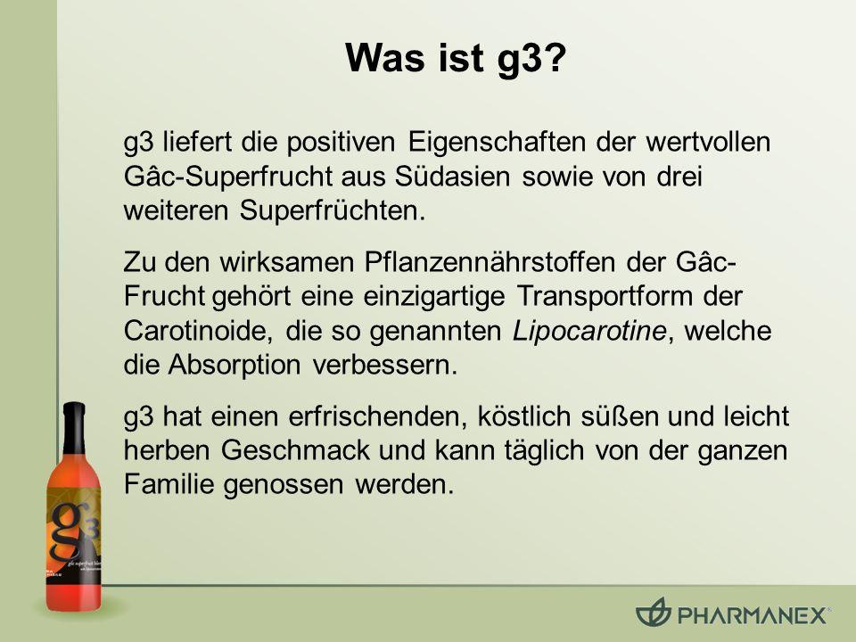 Was ist g3 g3 liefert die positiven Eigenschaften der wertvollen Gâc-Superfrucht aus Südasien sowie von drei weiteren Superfrüchten.