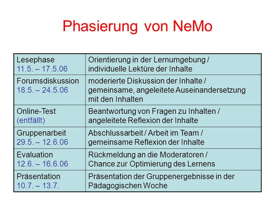 Phasierung von NeMo Lesephase 11.5. – 17.5.06