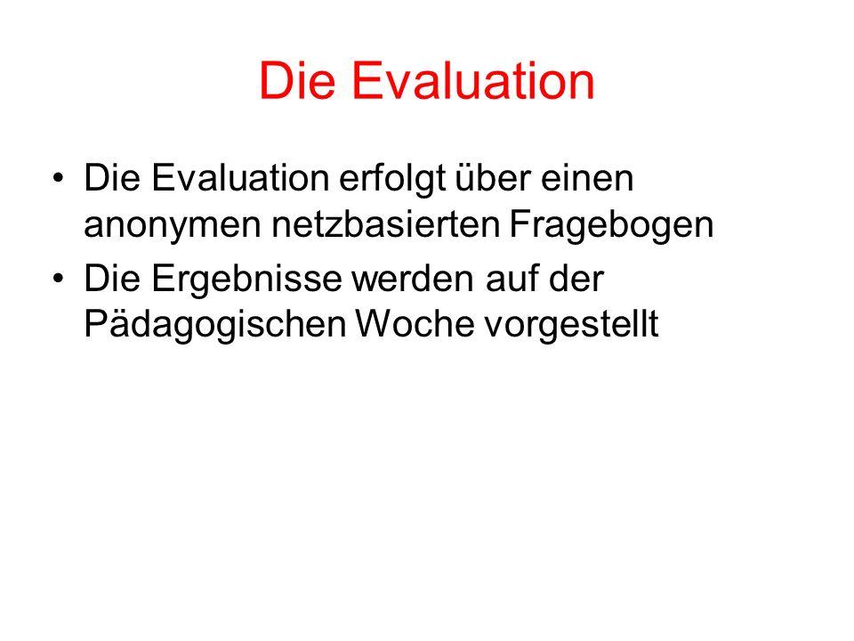 Die Evaluation Die Evaluation erfolgt über einen anonymen netzbasierten Fragebogen.