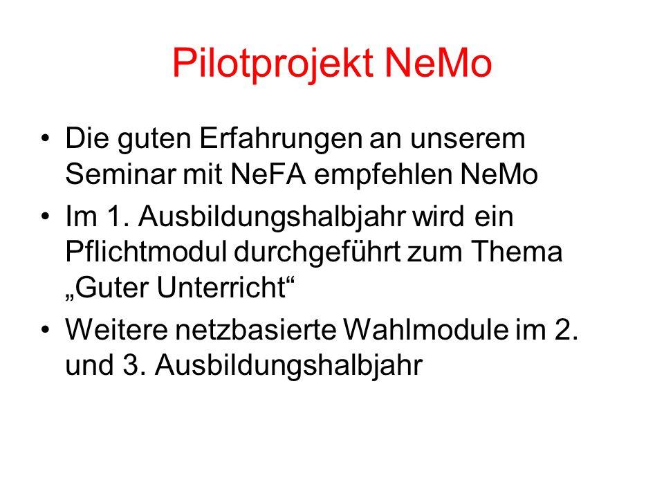Pilotprojekt NeMo Die guten Erfahrungen an unserem Seminar mit NeFA empfehlen NeMo.