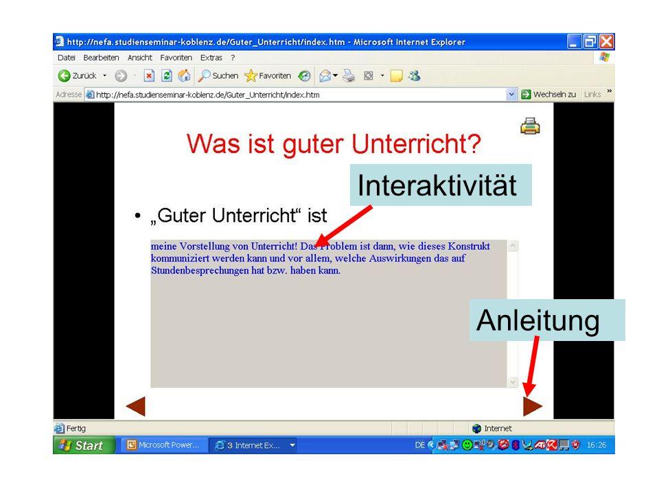 Interaktivität Anleitung