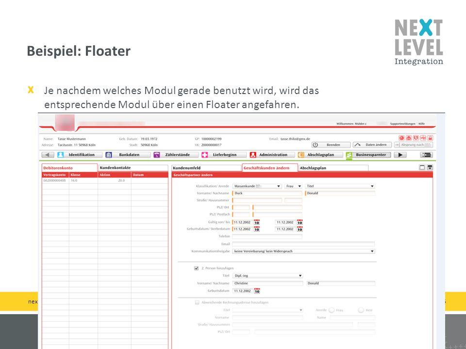 Beispiel: Floater Je nachdem welches Modul gerade benutzt wird, wird das entsprechende Modul über einen Floater angefahren.