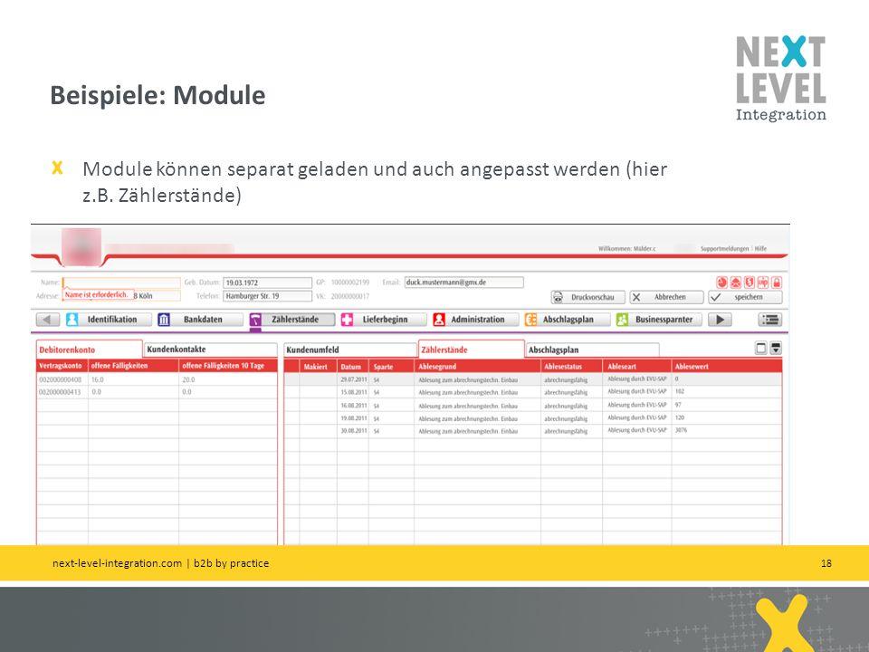 Beispiele: Module Module können separat geladen und auch angepasst werden (hier z.B. Zählerstände)