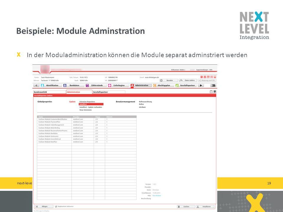 Beispiele: Module Adminstration