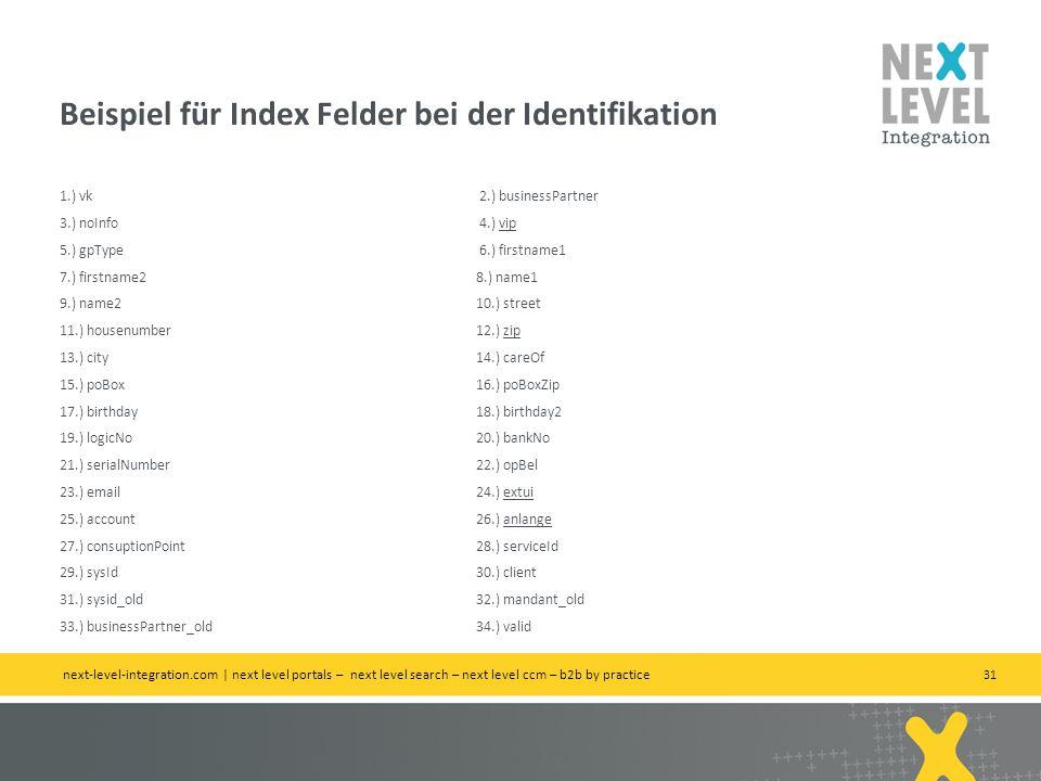 Beispiel für Index Felder bei der Identifikation