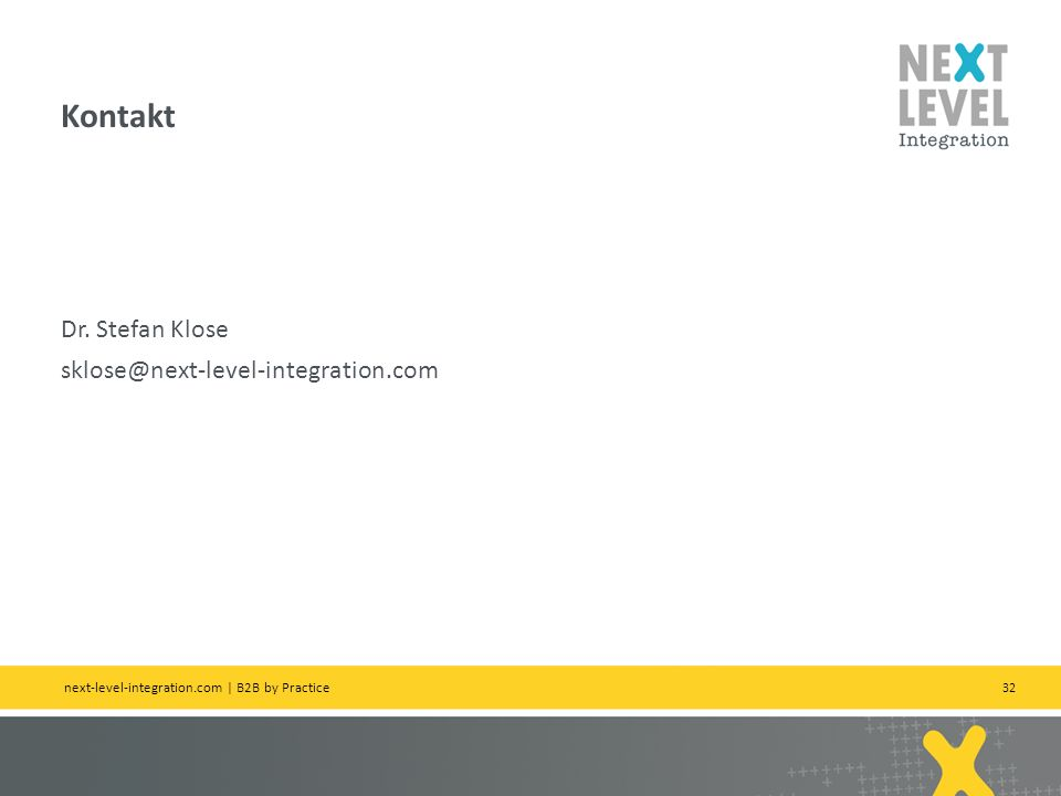 Kontakt Dr. Stefan Klose sklose@next-level-integration.com