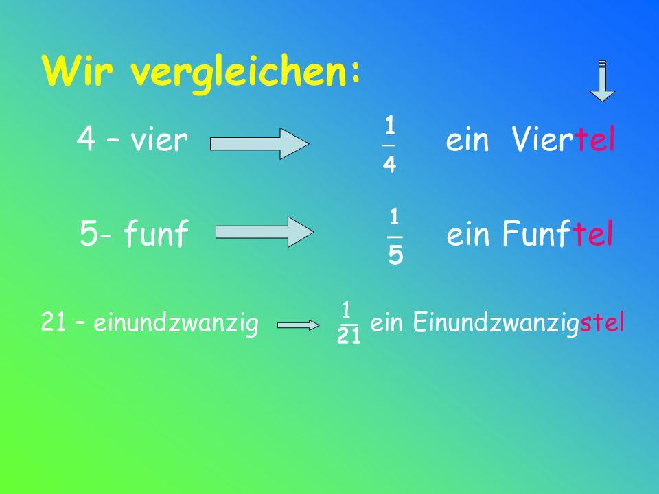 Wir vergleichen: 4 – vier ein Viertel 5- funf ein Funftel _ 1