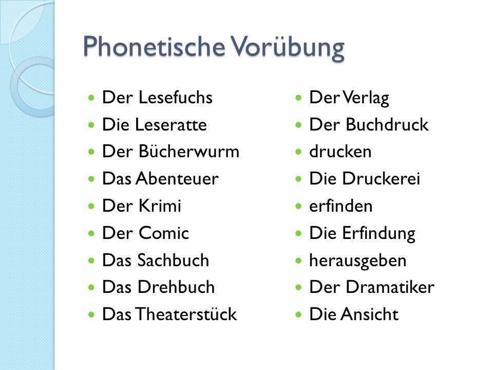 Phonetische Vorübung Der Lesefuchs Die Leseratte Der Bücherwurm