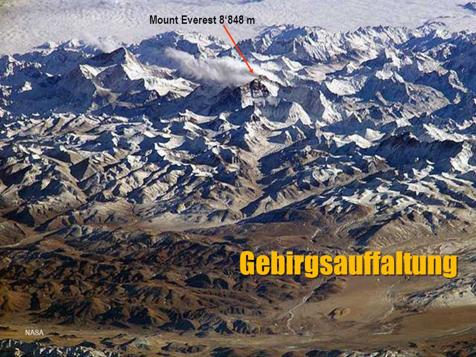 Mount Everest 8'848 m Gebirgsauffaltung NASA