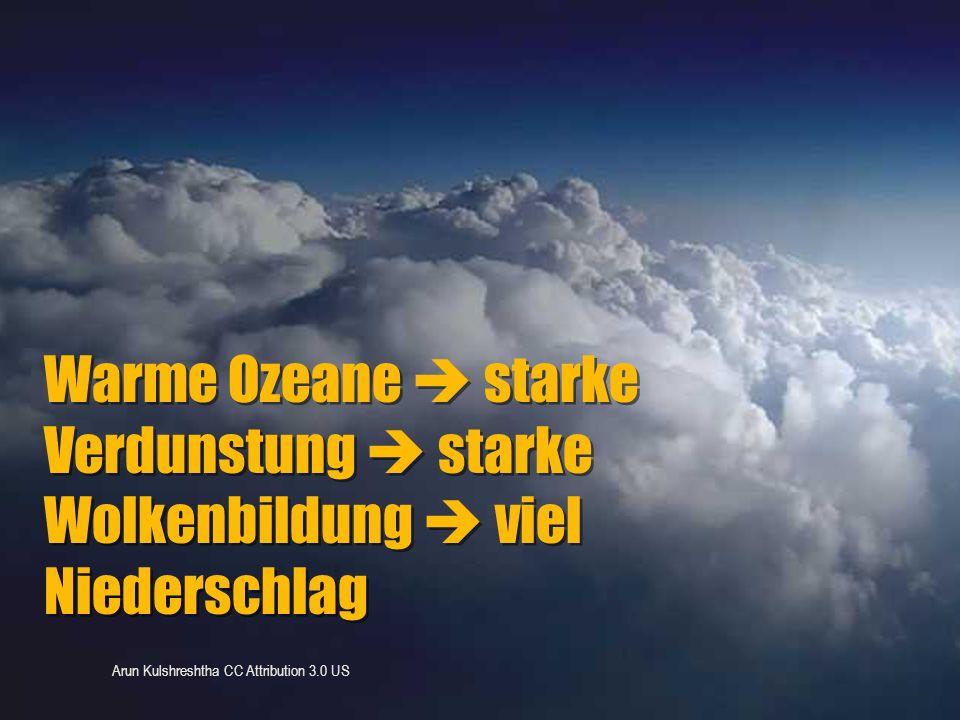 Warme Ozeane  starke Verdunstung  starke Wolkenbildung  viel Niederschlag