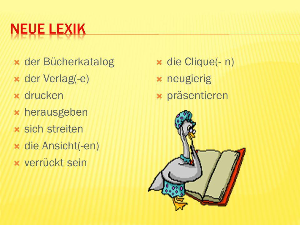 Neue Lexik der Bücherkatalog der Verlag(-e) drucken herausgeben