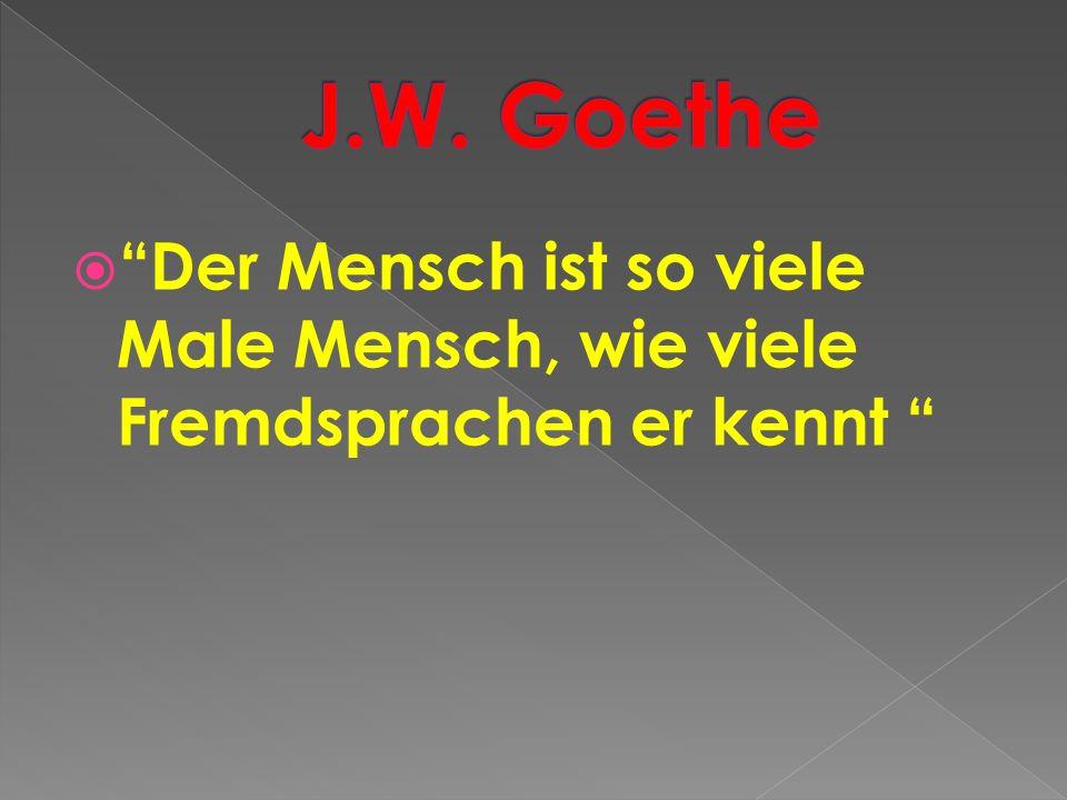 J.W. Goethe Der Mensch ist so viele Male Mensch, wie viele Fremdsprachen er kennt