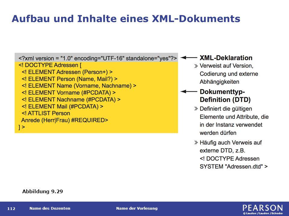 Aufbau und Inhalte eines XML-Dokuments (Forts.)