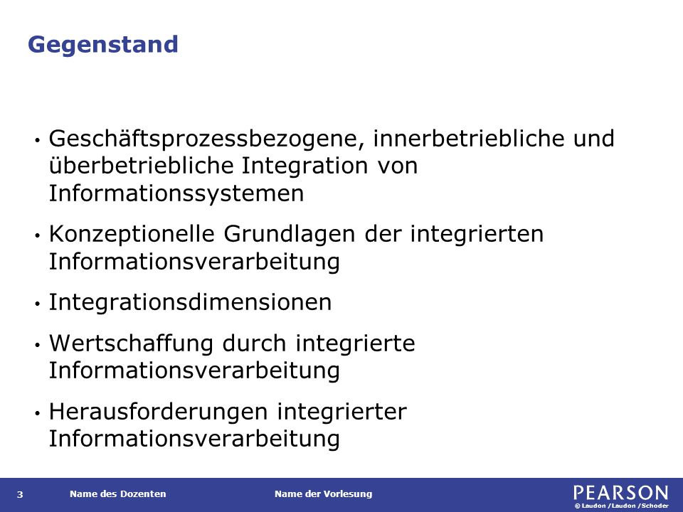 Gegenstand Enterprise-Resource-Planning-Systeme (ERP) Enterprise Application Integration (EAI) Elektronischer Datenaustausch (EDI)