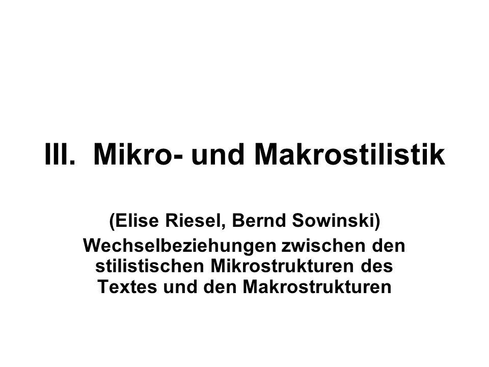 III. Mikro- und Makrostilistik