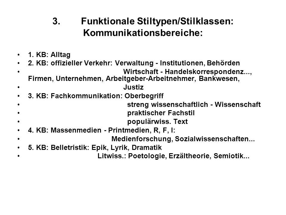 3. Funktionale Stiltypen/Stilklassen: Kommunikationsbereiche:
