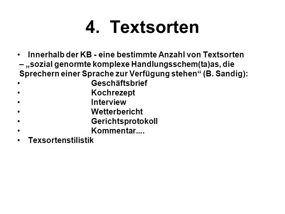 4. Textsorten Innerhalb der KB - eine bestimmte Anzahl von Textsorten