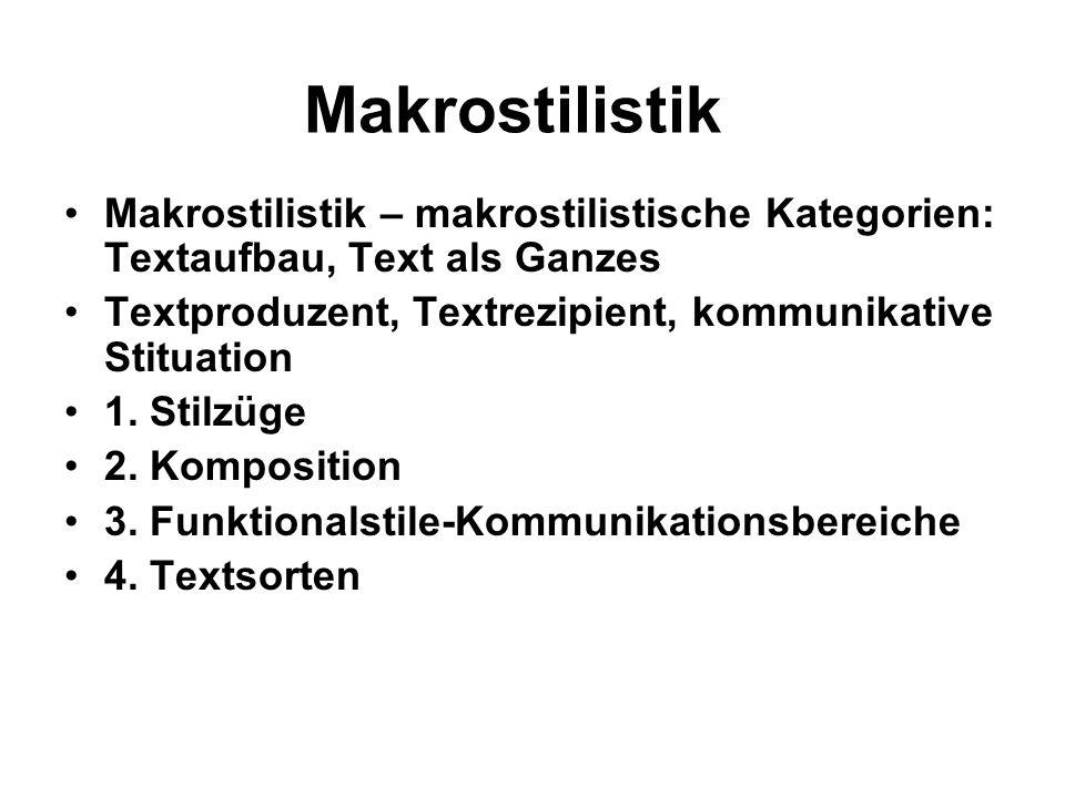 Makrostilistik Makrostilistik – makrostilistische Kategorien: Textaufbau, Text als Ganzes. Textproduzent, Textrezipient, kommunikative Stituation.