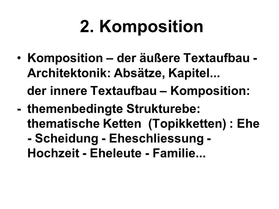 2. Komposition Komposition – der äußere Textaufbau - Architektonik: Absätze, Kapitel... der innere Textaufbau – Komposition: