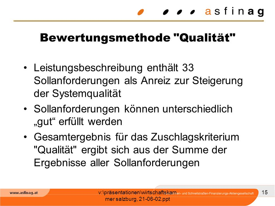 Bewertungsmethode Qualität