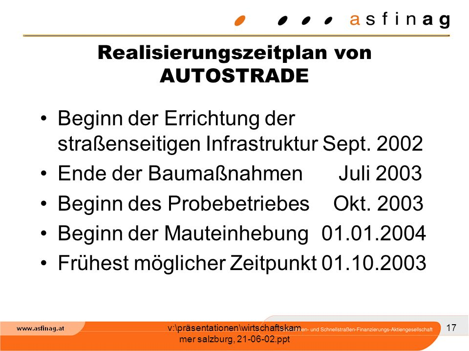 Realisierungszeitplan von AUTOSTRADE