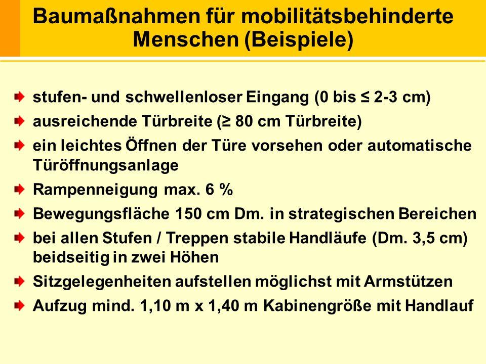 Baumaßnahmen für mobilitätsbehinderte Menschen (Beispiele)
