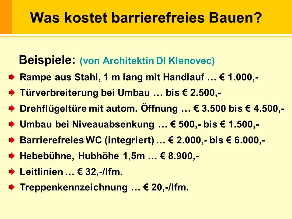 Was kostet barrierefreies Bauen