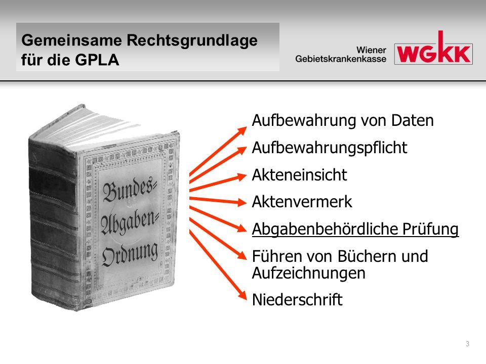 Gemeinsame Rechtsgrundlage für die GPLA