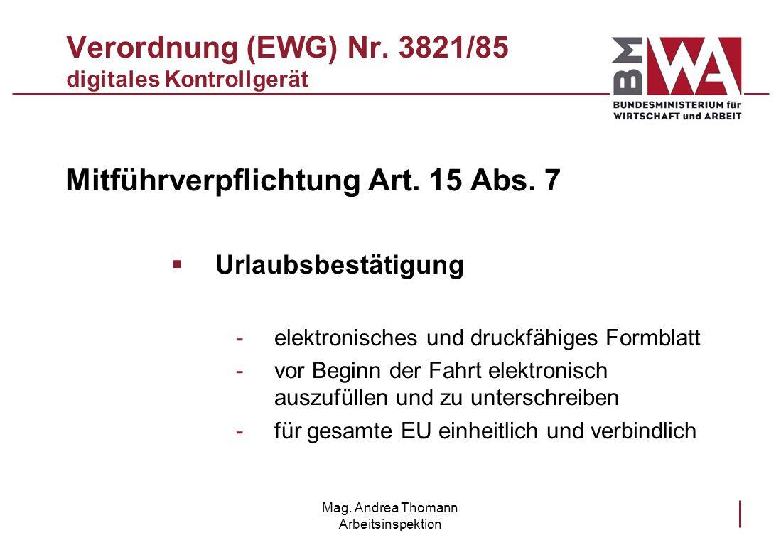 Verordnung (EWG) Nr. 3821/85 digitales Kontrollgerät