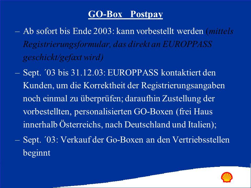 GO-Box Postpay Ab sofort bis Ende 2003: kann vorbestellt werden (mittels Registrierungsformular, das direkt an EUROPPASS geschickt/gefaxt wird)