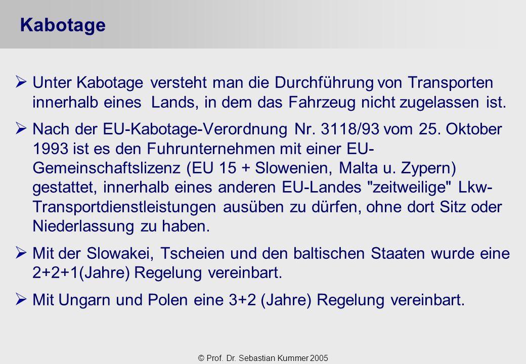 Kabotage Unter Kabotage versteht man die Durchführung von Transporten innerhalb eines Lands, in dem das Fahrzeug nicht zugelassen ist.
