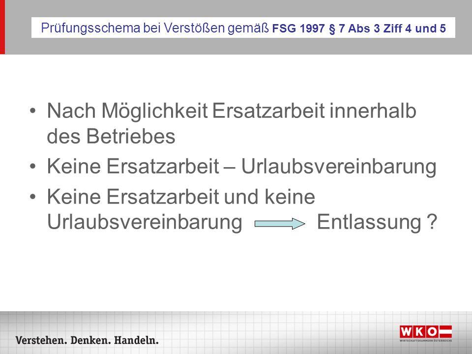Prüfungsschema bei Verstößen gemäß FSG 1997 § 7 Abs 3 Ziff 4 und 5
