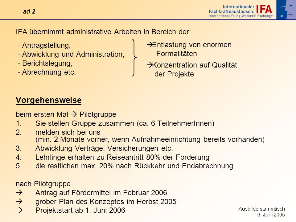 Vorgehensweise IFA übernimmt administrative Arbeiten in Bereich der: