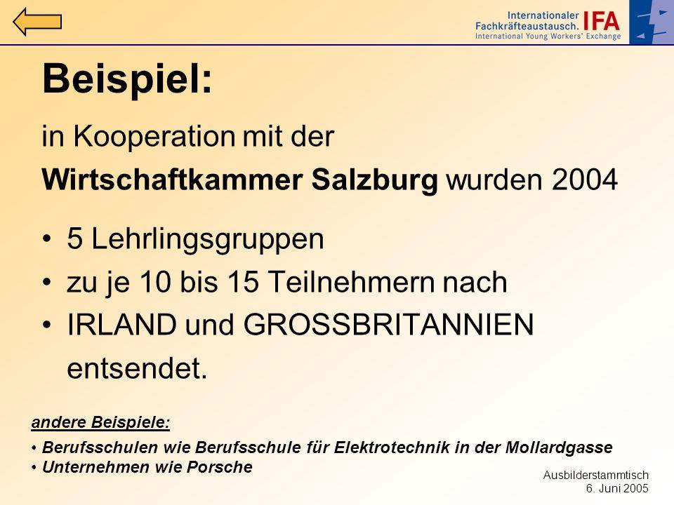 Beispiel: in Kooperation mit der Wirtschaftkammer Salzburg wurden 2004