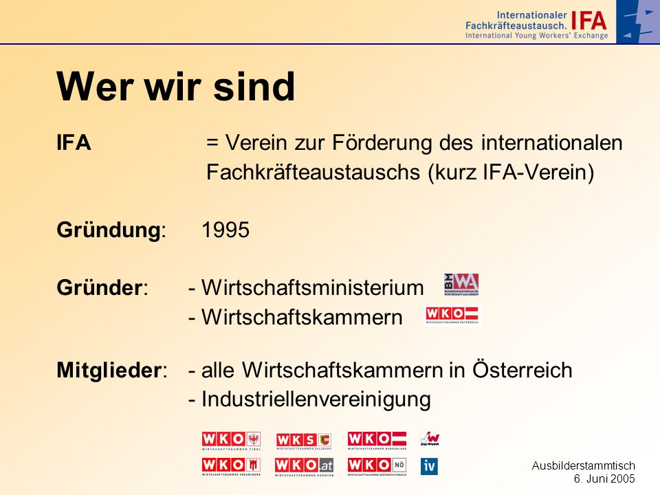 Wer wir sind IFA = Verein zur Förderung des internationalen