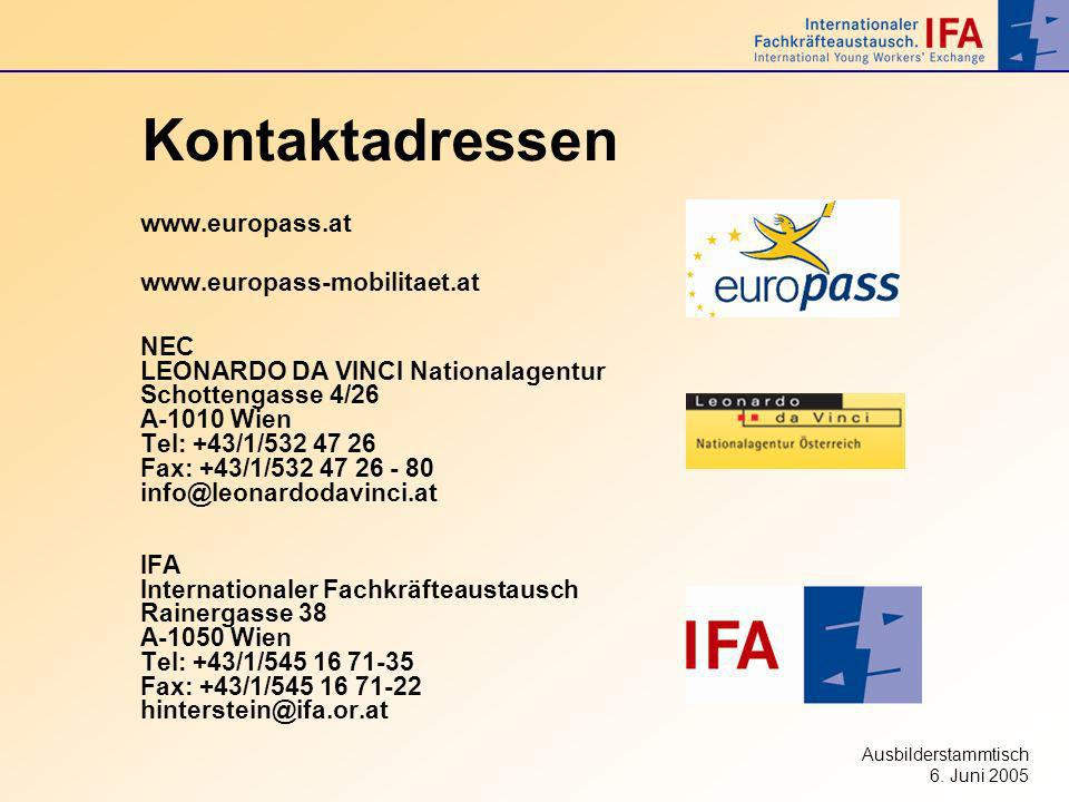 Kontaktadressen www.europass.at www.europass-mobilitaet.at