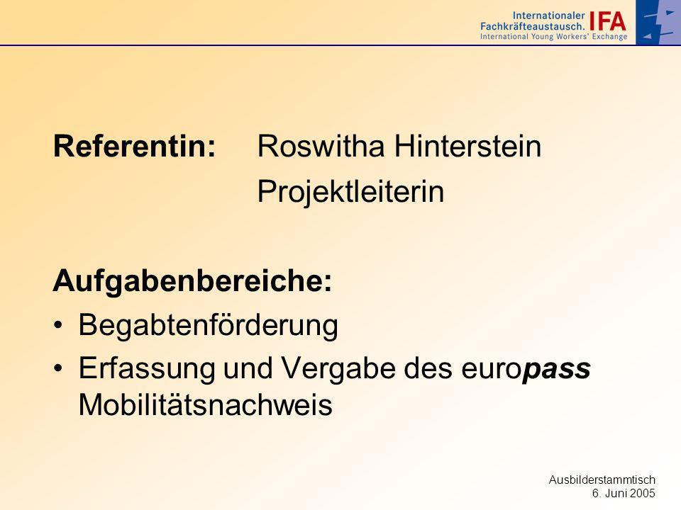 Referentin: Roswitha Hinterstein Projektleiterin Aufgabenbereiche: