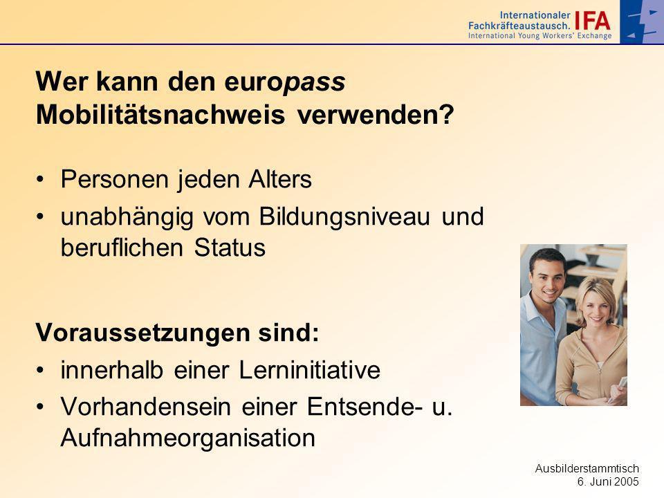 Wer kann den europass Mobilitätsnachweis verwenden