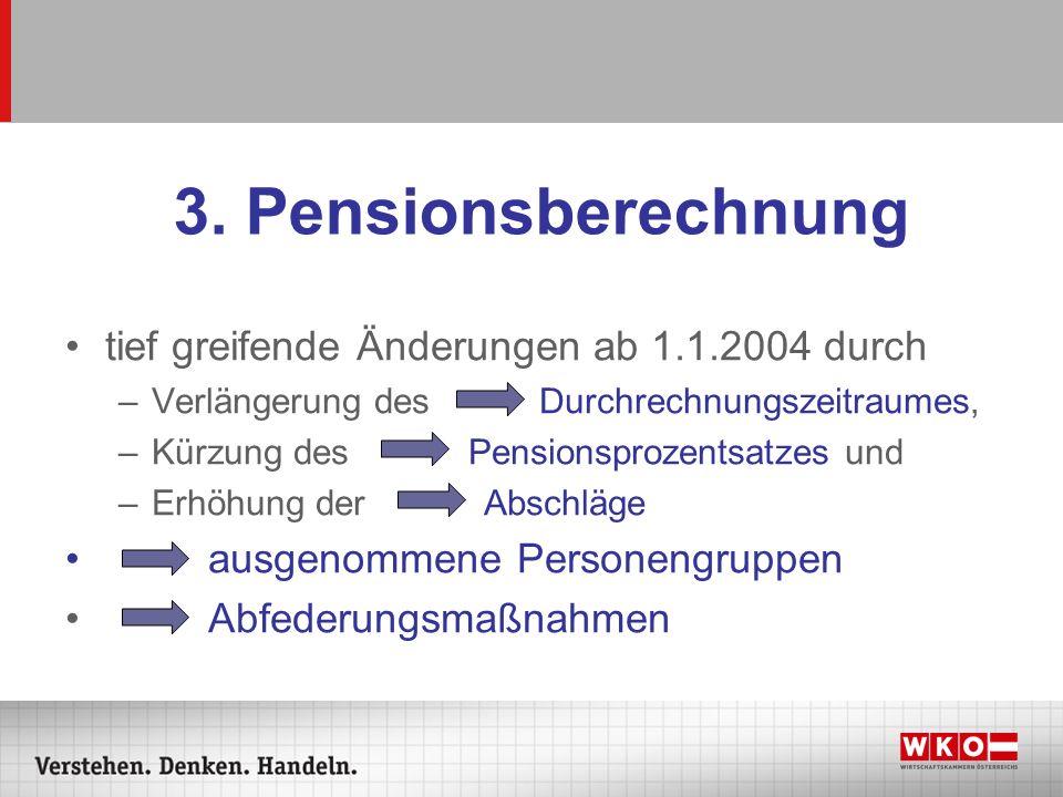 3. Pensionsberechnung tief greifende Änderungen ab 1.1.2004 durch