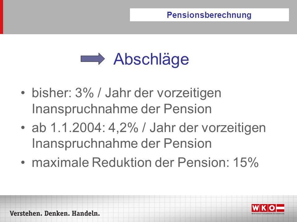 Pensionsberechnung Abschläge. bisher: 3% / Jahr der vorzeitigen Inanspruchnahme der Pension.