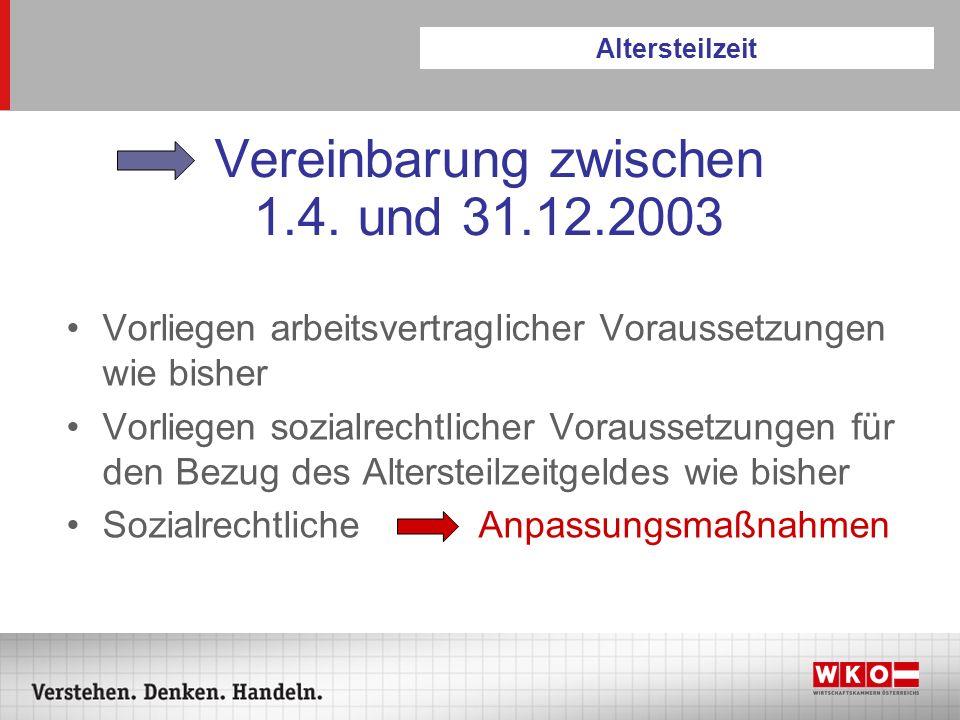 Vereinbarung zwischen 1.4. und 31.12.2003