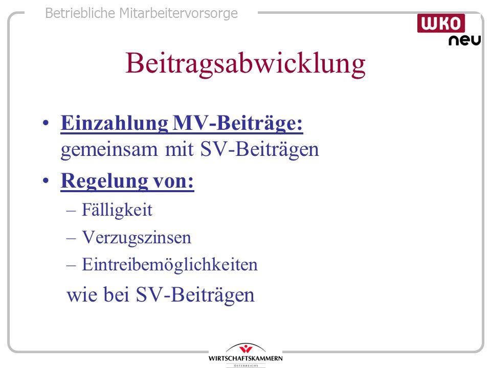 Beitragsabwicklung Einzahlung MV-Beiträge: gemeinsam mit SV-Beiträgen