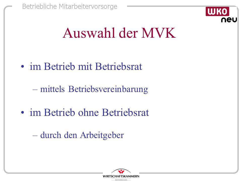 Auswahl der MVK im Betrieb mit Betriebsrat im Betrieb ohne Betriebsrat