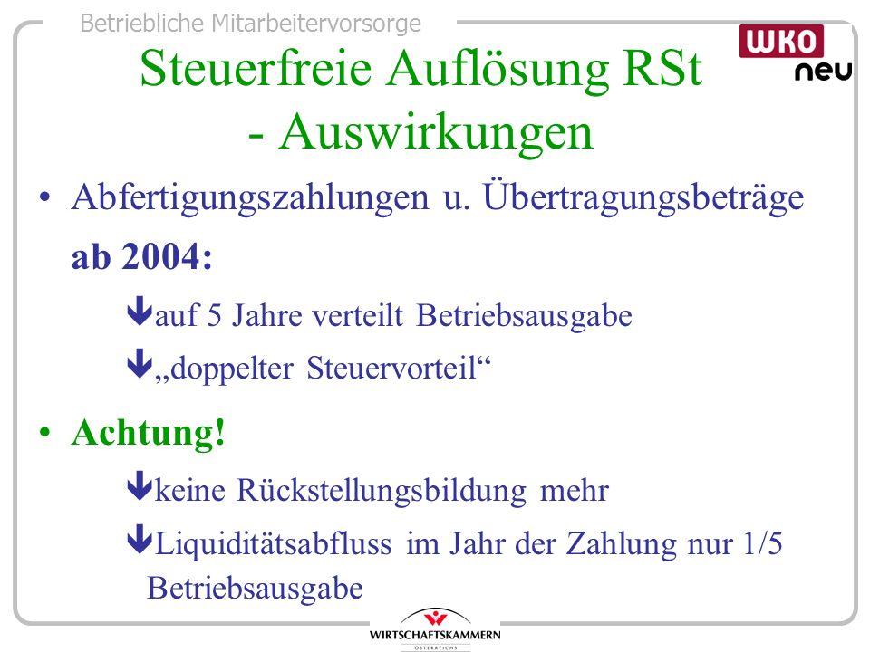 Steuerfreie Auflösung RSt - Auswirkungen
