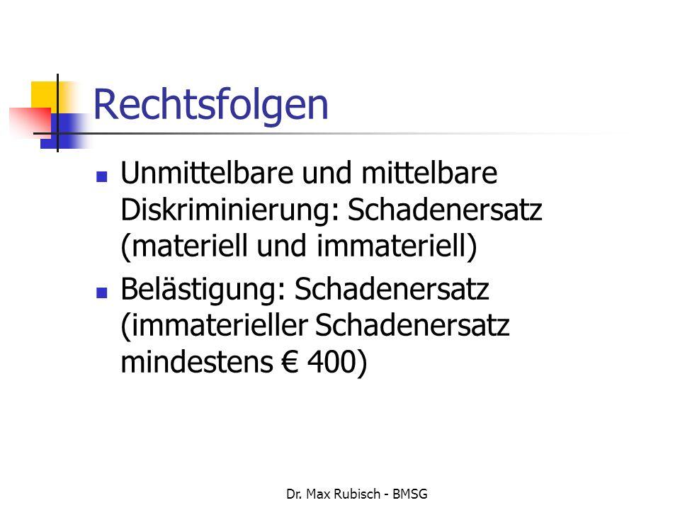 Rechtsfolgen Unmittelbare und mittelbare Diskriminierung: Schadenersatz (materiell und immateriell)