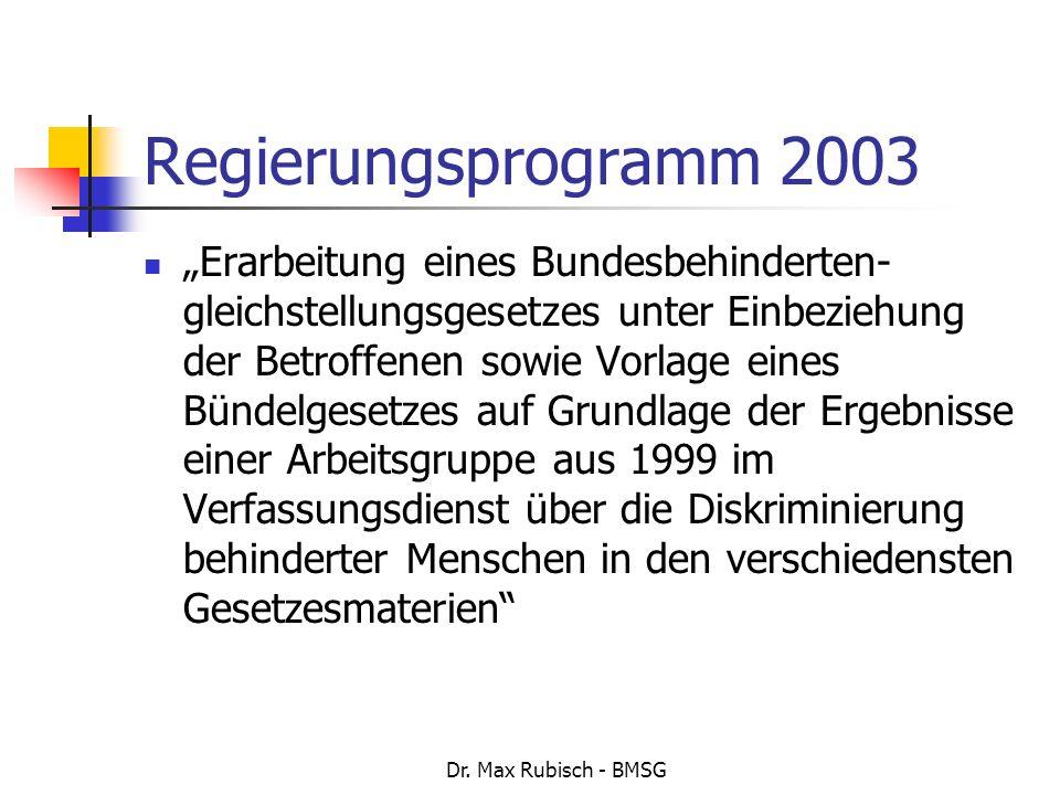 Regierungsprogramm 2003