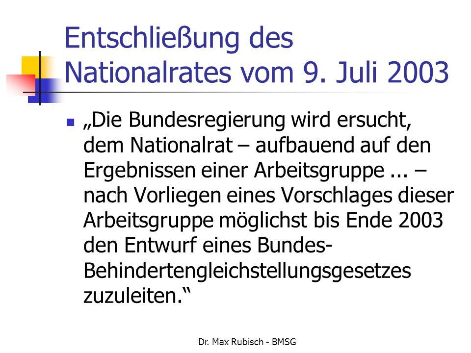 Entschließung des Nationalrates vom 9. Juli 2003