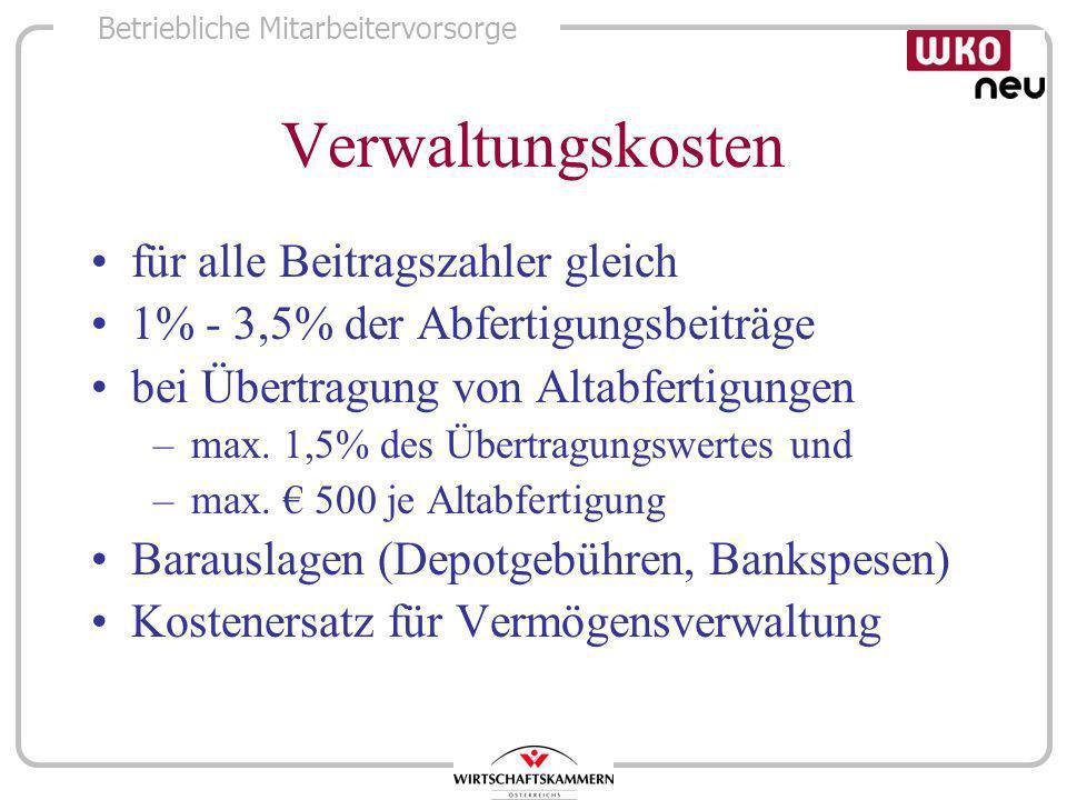 Verwaltungskosten für alle Beitragszahler gleich
